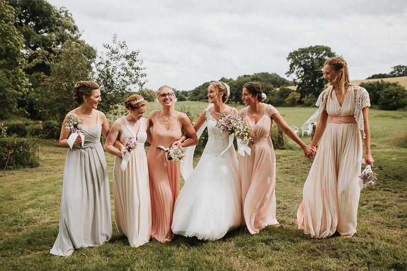 DIY Hochzeit Brautjungfern Kleider Apricot